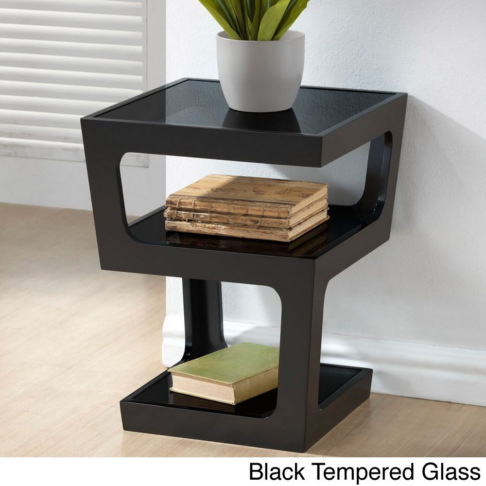 Clara Modern Tall Black 3 Tiered End Table Glass Top End Tables
