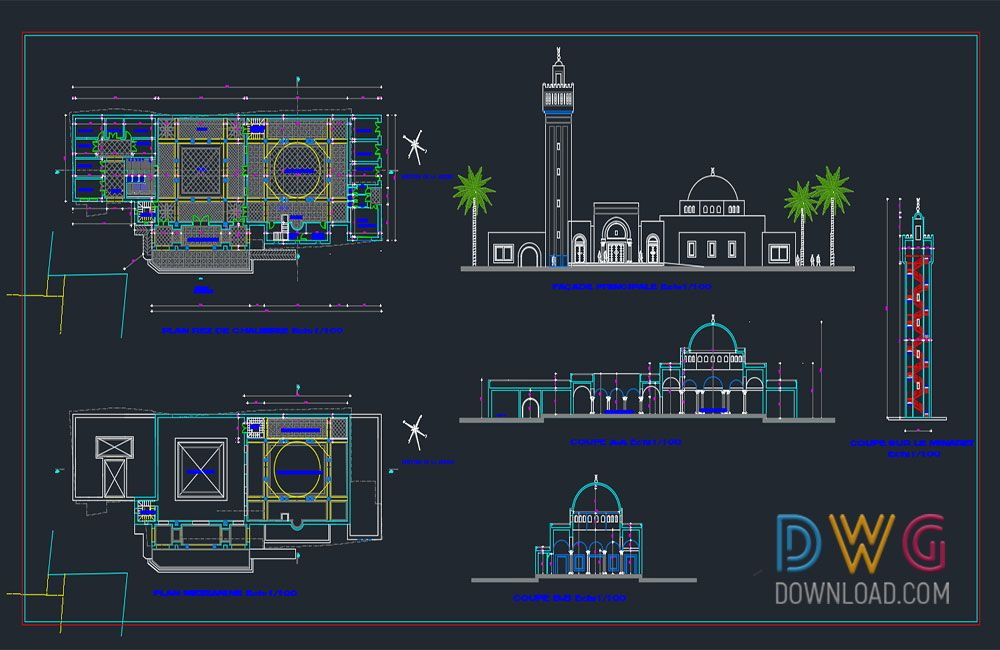 Dwg Download Mosque Project Dwg 2 Mosque Architectural