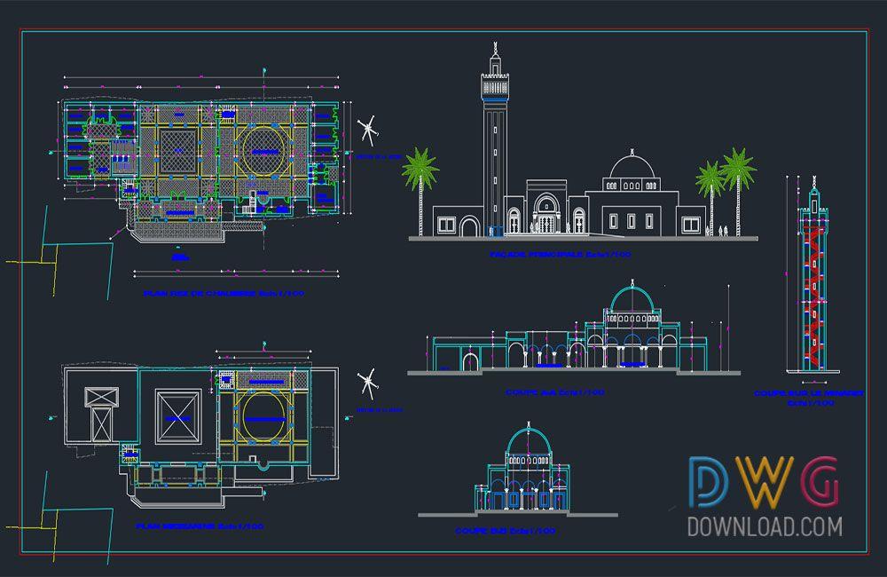 plan mosquée dwg
