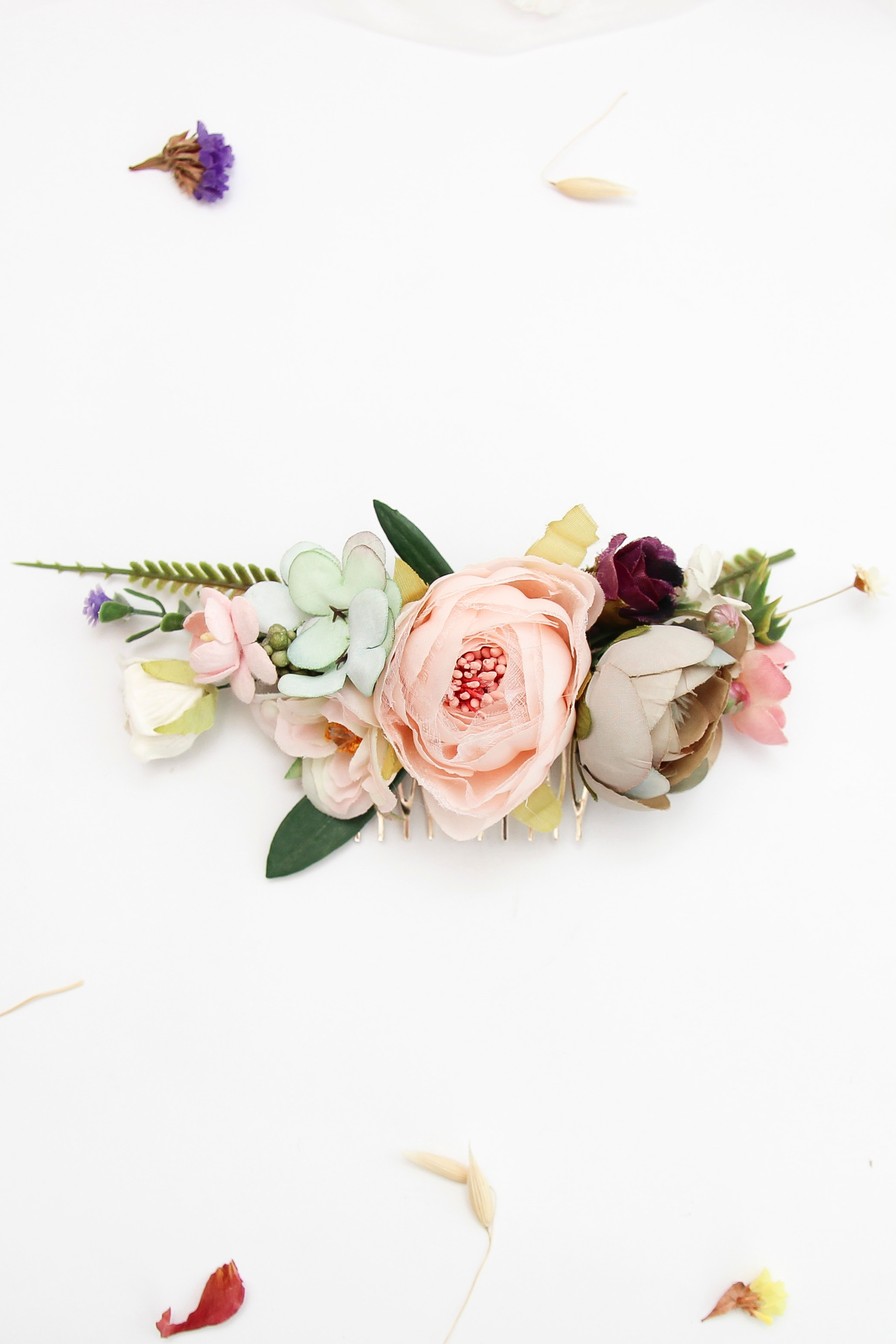 Blue blush flower comb wedding hair comb pink flower comb