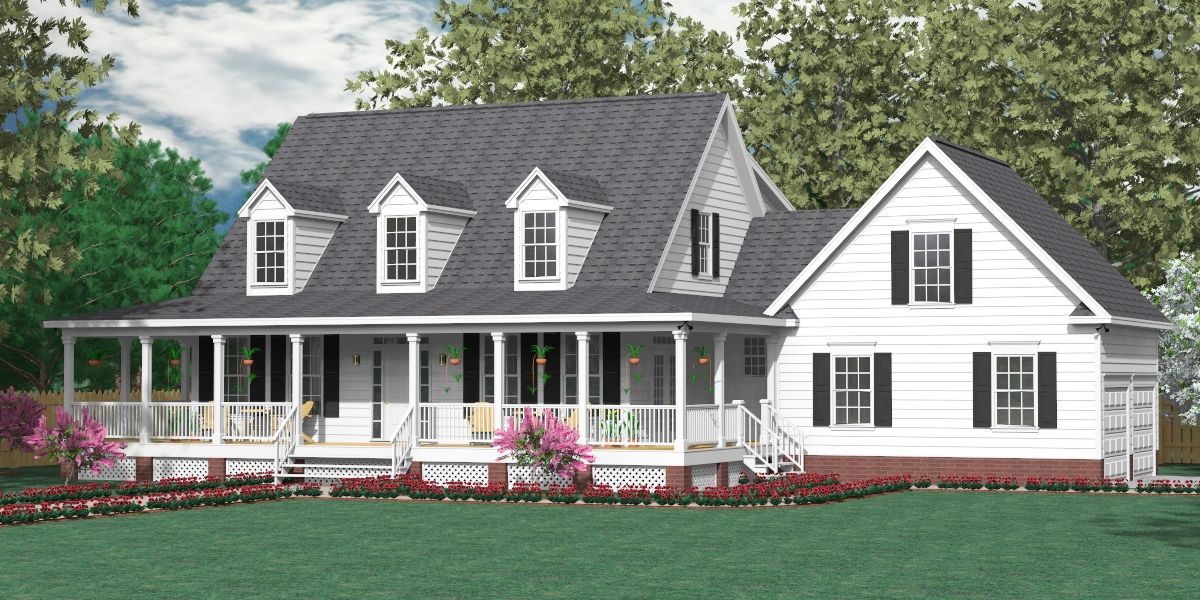 House plan 2341 a montgomery a elevation traditional 1 for House plans with downstairs master bedroom