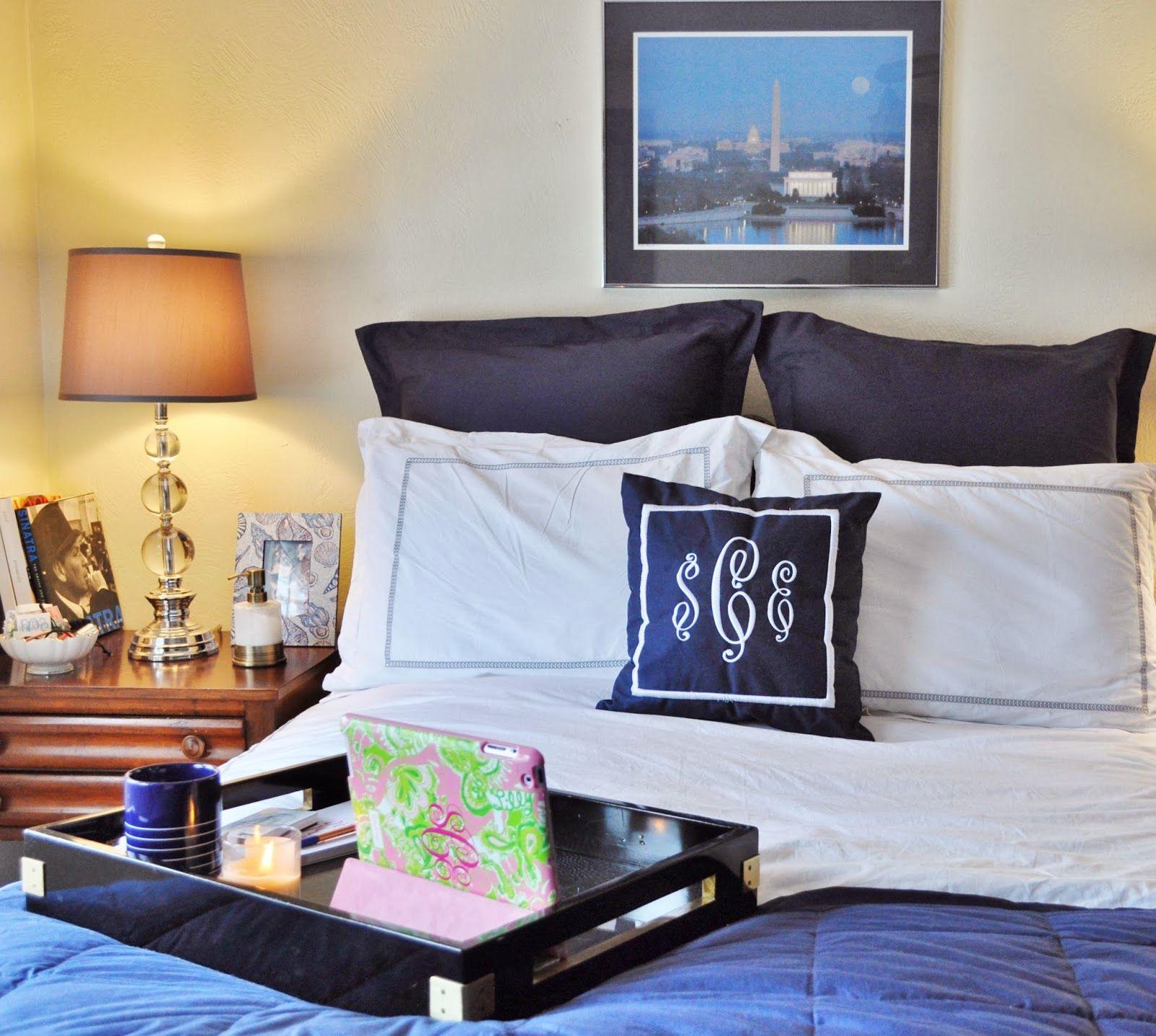 navy blue and white bedding, monogram pillow