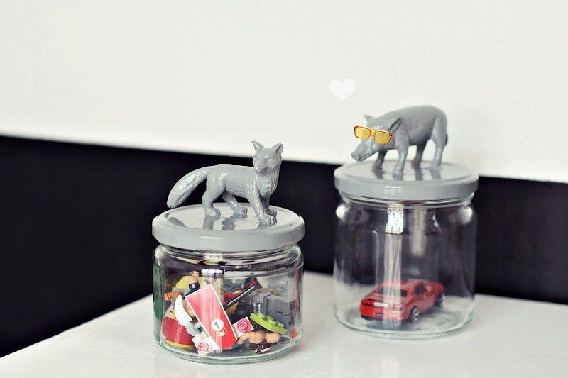 Diy jars with plastic animals