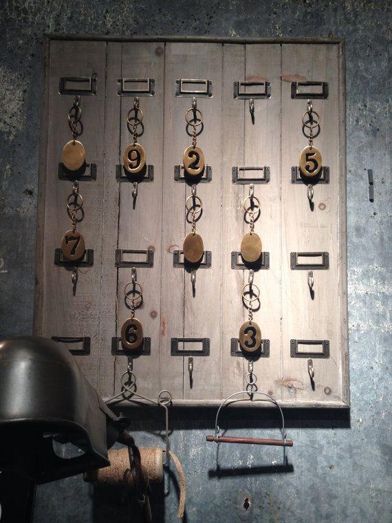 Reclaimed Wood Hotel 20 Hook Large Key Rack Holder Wall Hanging Key Rack Key Holder Diy Key Rack Holder