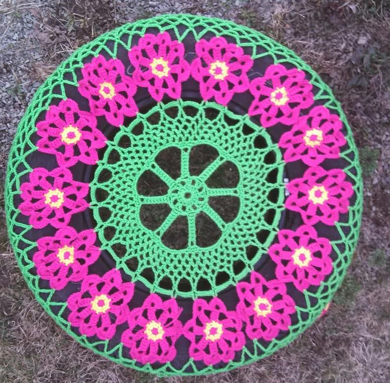 Flower cartwheel crochet spare tire cover in 2020