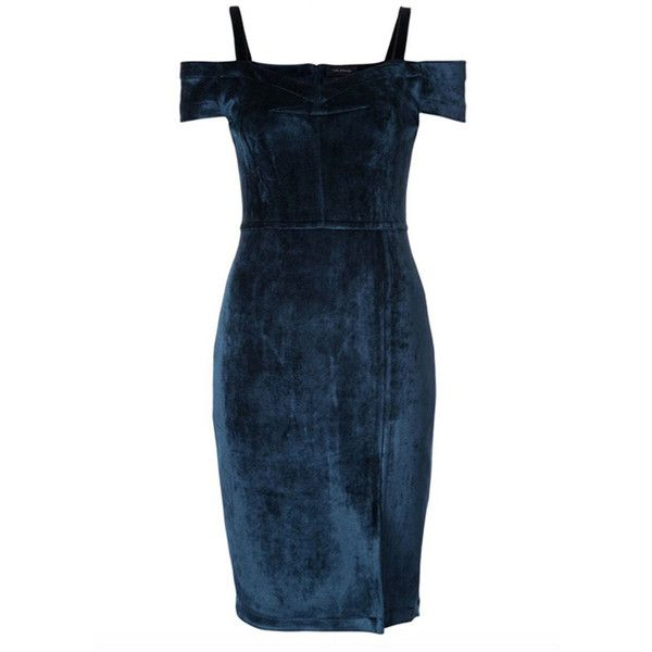 Navy Blue Cold Shoulder Split Velvet Mini Dress ($76) ❤ liked on ...