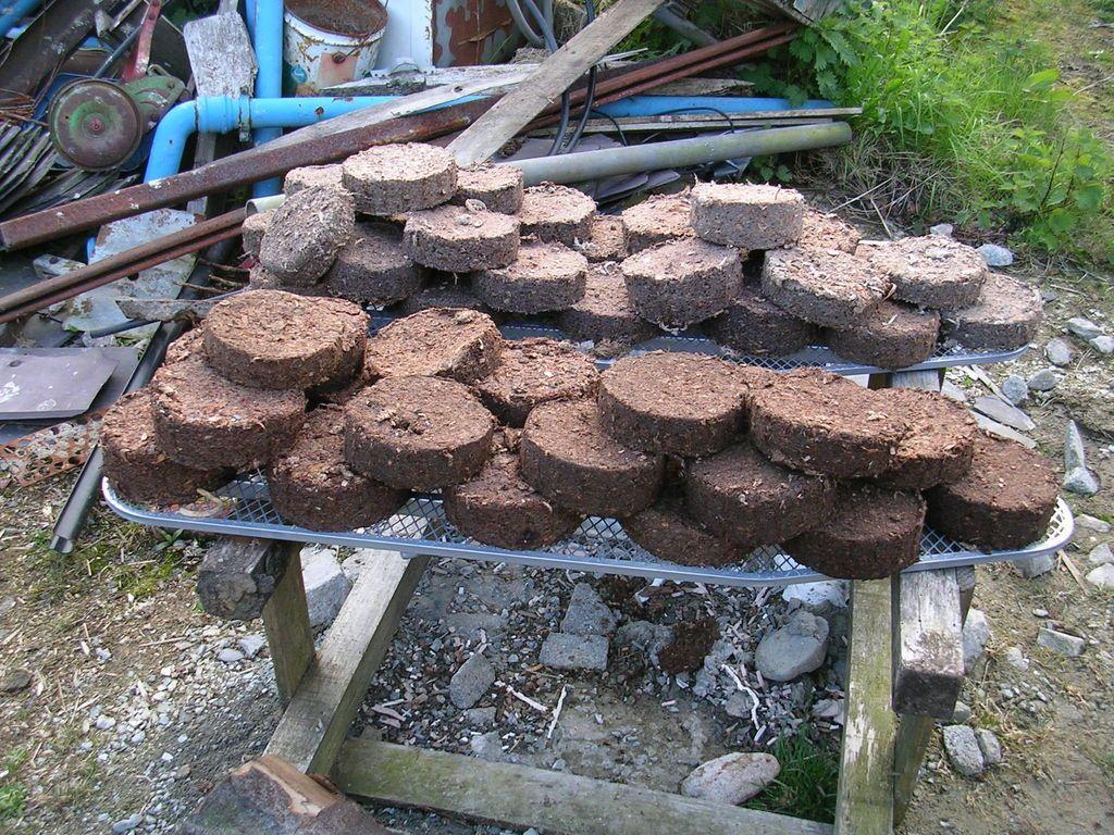Bio fuel briquettes compress paper pulp and sawdust into
