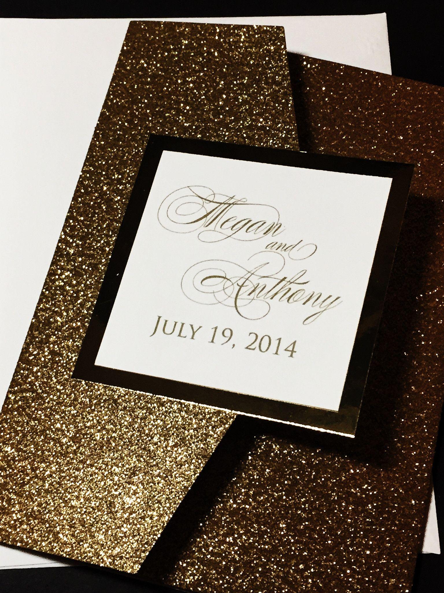 Glitter Wedding Invitation, Luxury Wedding Invitation, Calligraphy ...