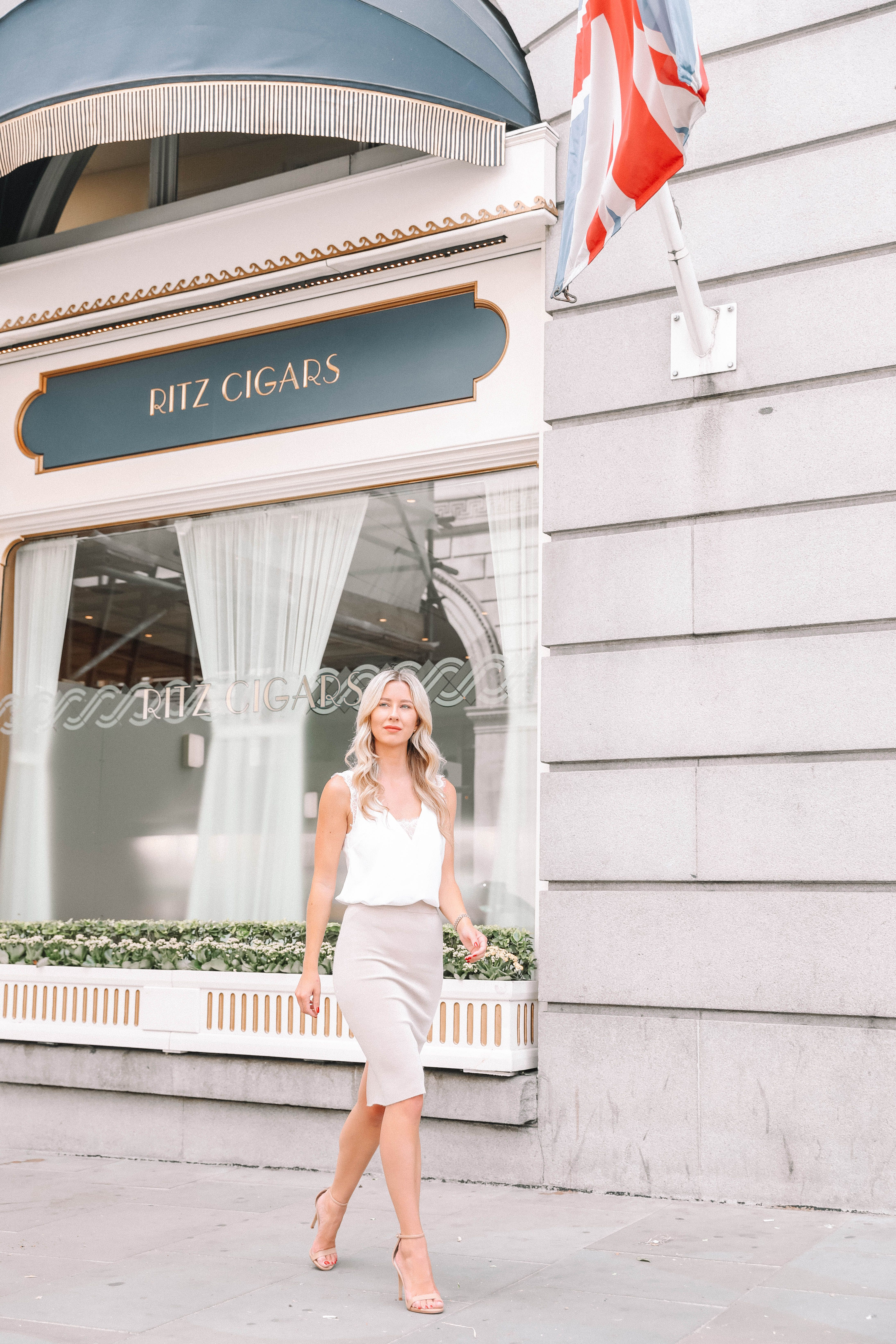 218e432cf3 she goes wear reiss KNITTED PENCIL SKIRT NEUTRAL nude cream knitted white  lace vest top asos the ritz london louboutin pigalle heels workwear blogger  office ...