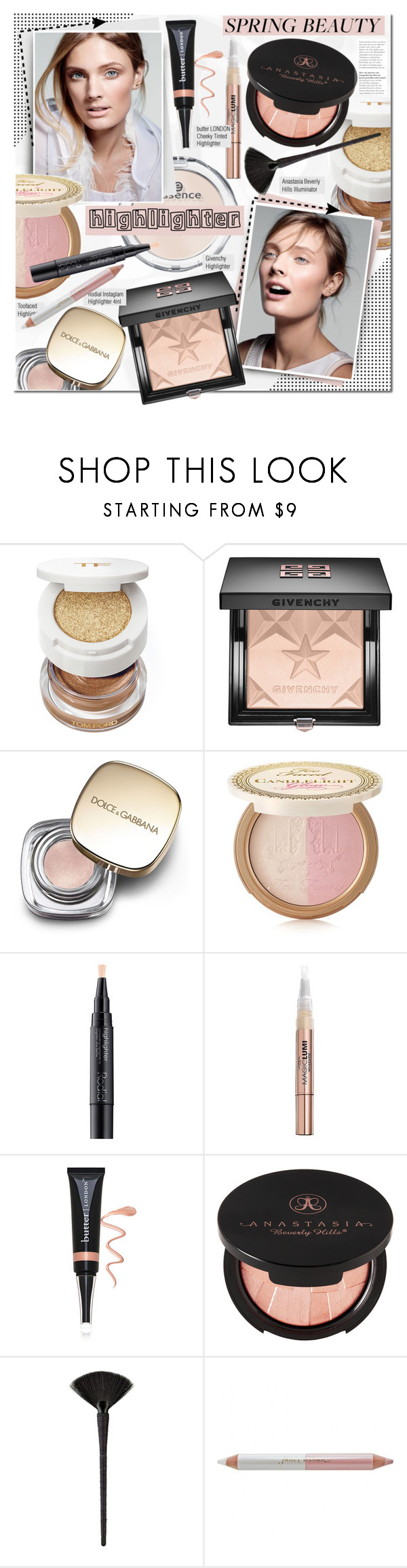 """""""Spring Beauty: Highlighter"""" by mada-malureanu ❤ liked on Polyvore featuring beauty, Tom Ford, Givenchy, Dolce&Gabbana, Too Faced Cosmetics, Rodial, L'Oréal Paris, Butter London, Anastasia Beverly Hills and Japonesque"""