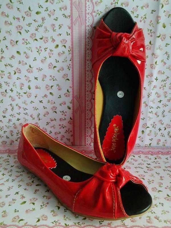 Flat Shoes Sepatu Pita Simpul Merah Flat Shoes