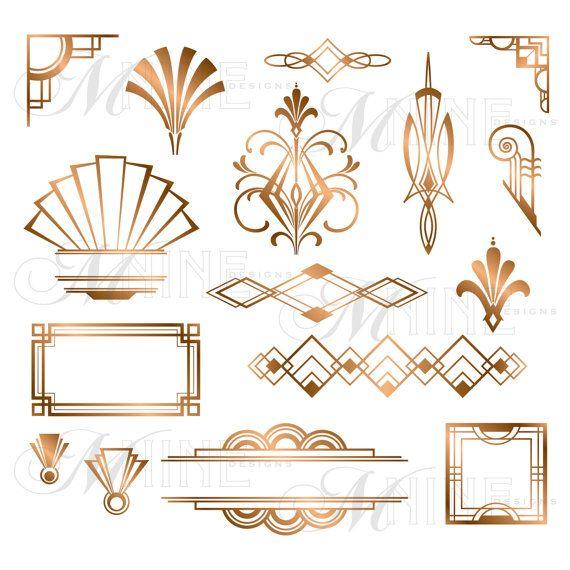 Bronze Art Deco Accents Clipart Design Elements Instant