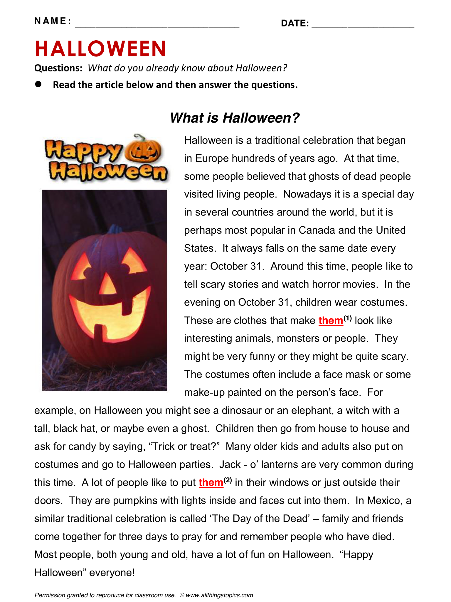 Halloween English Learning English Vocabulary Esl