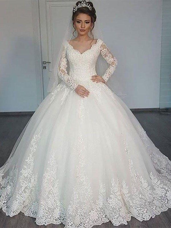 Robe de bal Manches longues Traîne moyenne Col en V Tulle Robes de Mariée #weddingfall