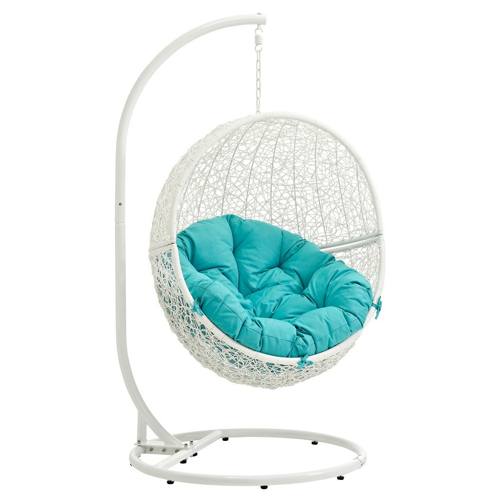 Hide Outdoor Patio Swing Chair in White Turquoise Modway