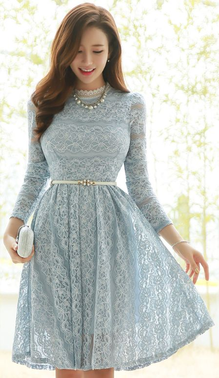 Pastel Color Angel Lace Flared Dress  ec1716c956b