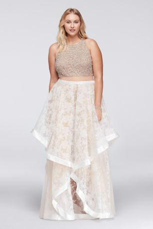 09318f9b4ac Intricate textures add interest to this illusion-inset plus size dress