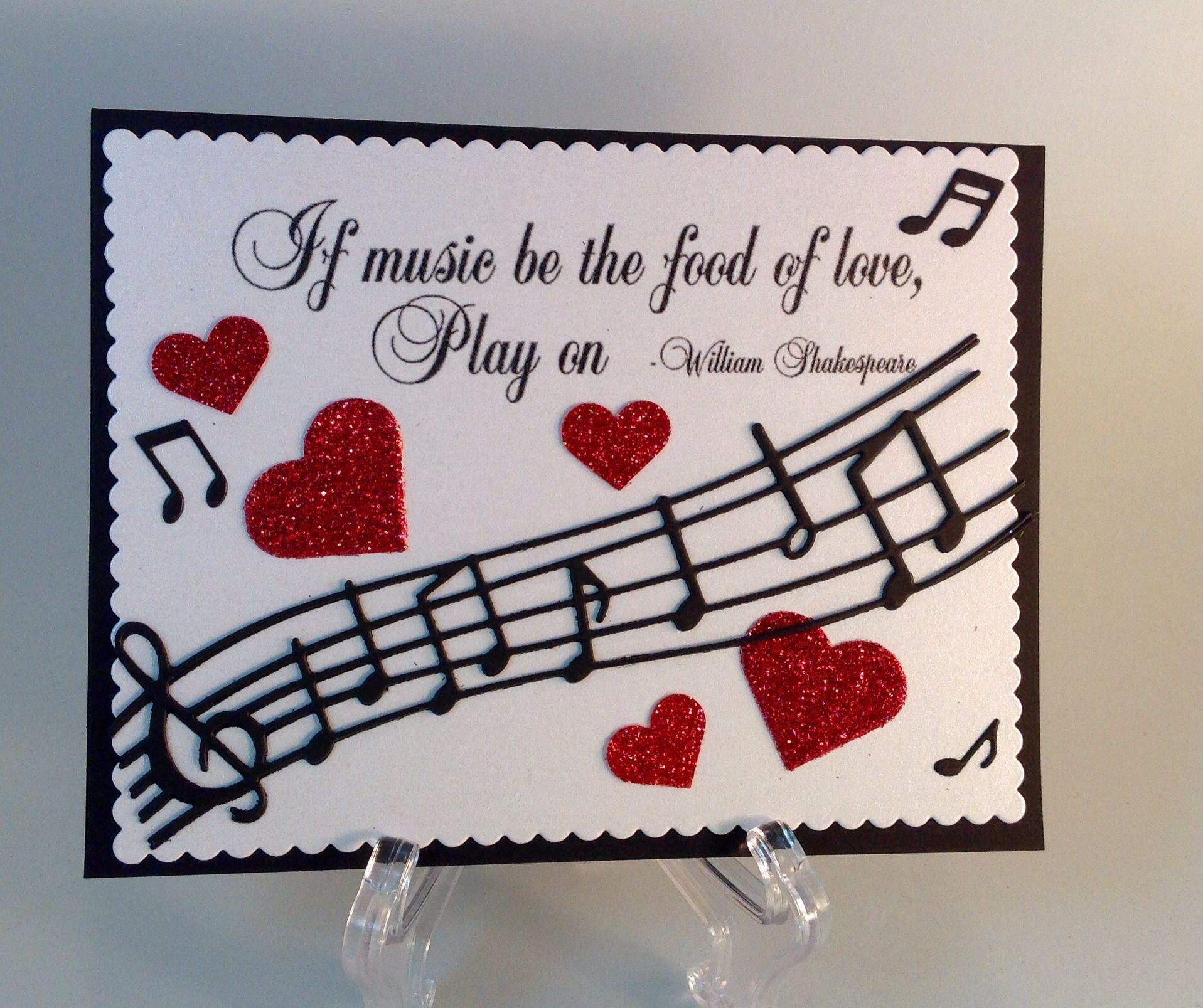 Handmade Music Teacher Appreciation Card Teacher Thank You Card – Musical Valentines Cards