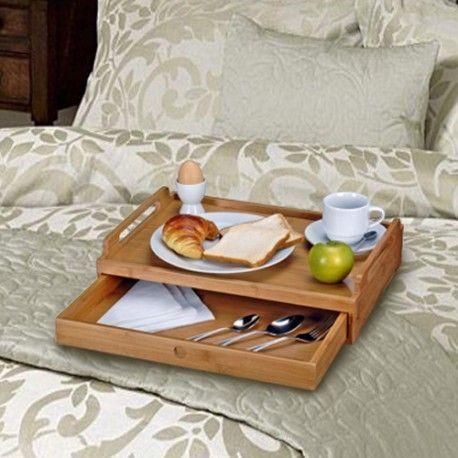 Bandeja para cama de bambu con cajon bandeja de madera - Mesitas para desayunar en la cama ...