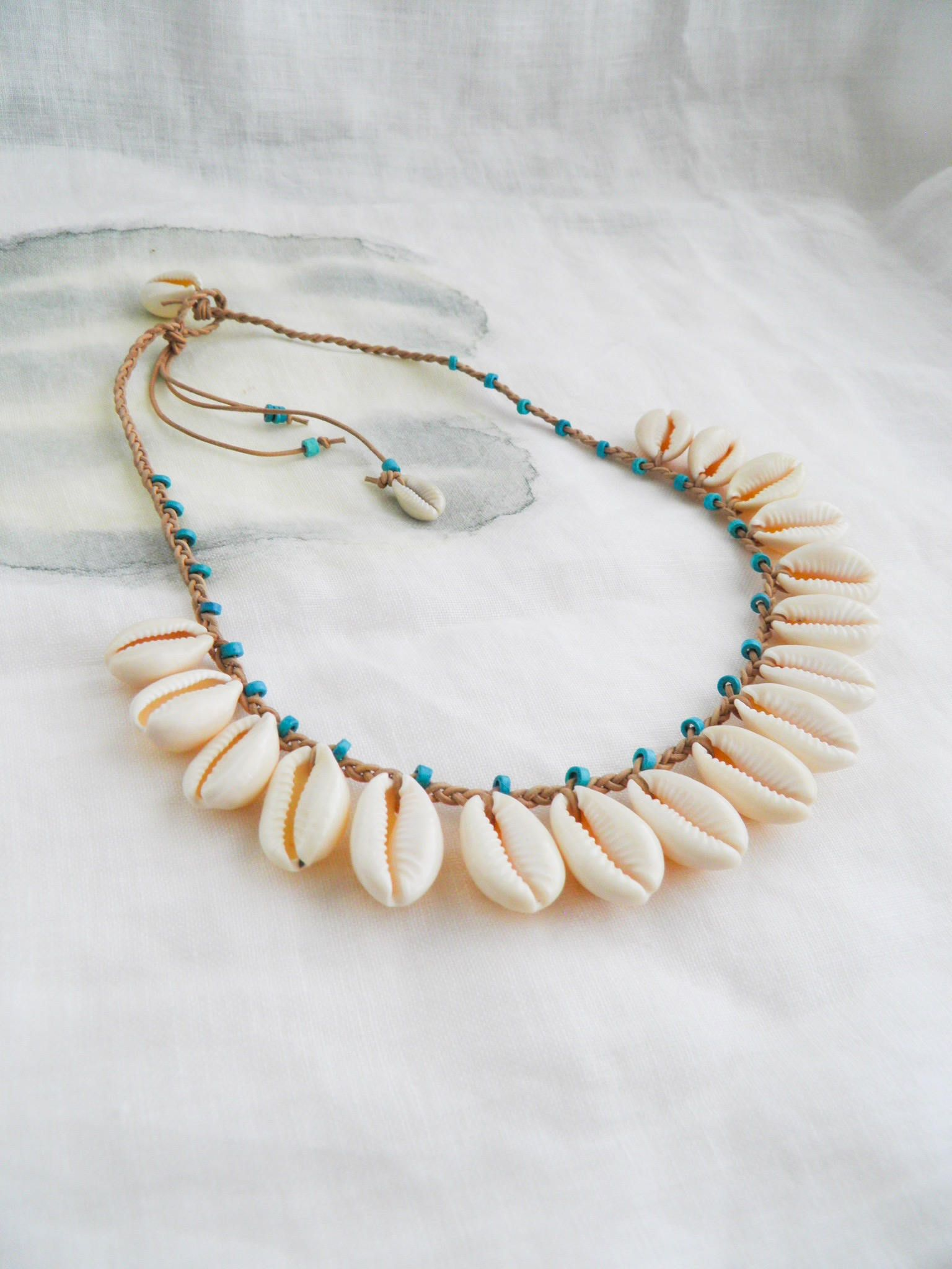 Big ceramic shell necklace Sea shell pendant necklace Handmade jewelry Ceramic jewelry Chunky necklace Romantic necklace Gift for her