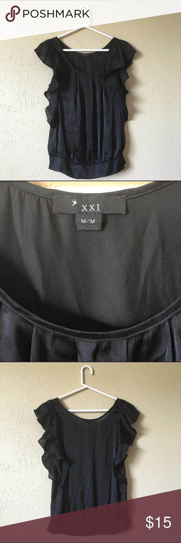 Black Silk Forever 21 Shirt Black Silk Ruffle Forever 21 Shirt Forever 21 Tops Blouses