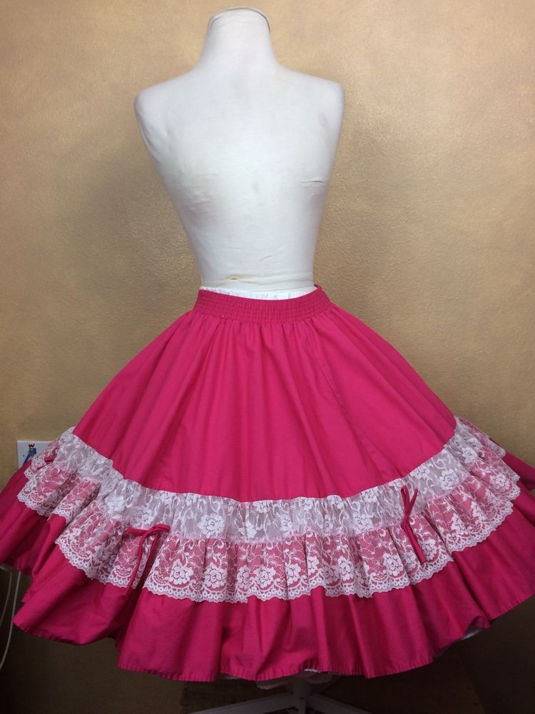 d19327ee21 Vintage Square Dance Skirt Partners Please Hot Pink w White Lace Trim Size P   MalcoModes