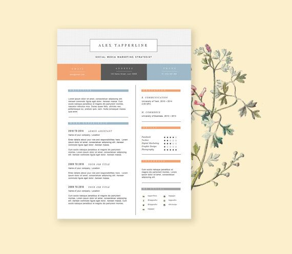 Resume Template With Cover Letter Cv Design In Summer By Landedco