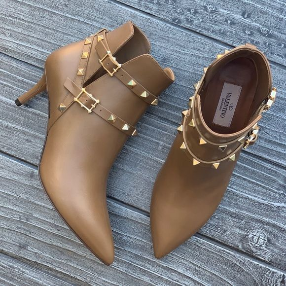 Valentino Tan Leather Rockstud Pointy Toe Bootie