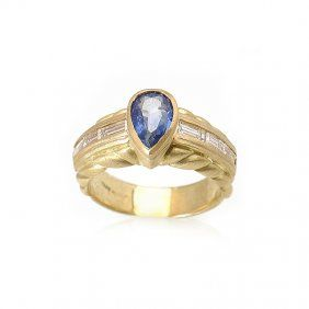Lot: 18K Yellow Gold Diamond Sapphire Ring, Lot Number: 0008, Starting Bid: $2,500, Auctioneer: Last Chance by LiveAuctioneers, Auction: Designer Jewelry Auction, Date: May 27th, 2016 BST