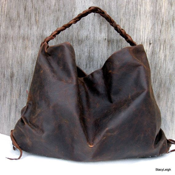 Brown Hand Rubbed Leather Hobo Bag by Stacy Leigh | Hobo bags ...