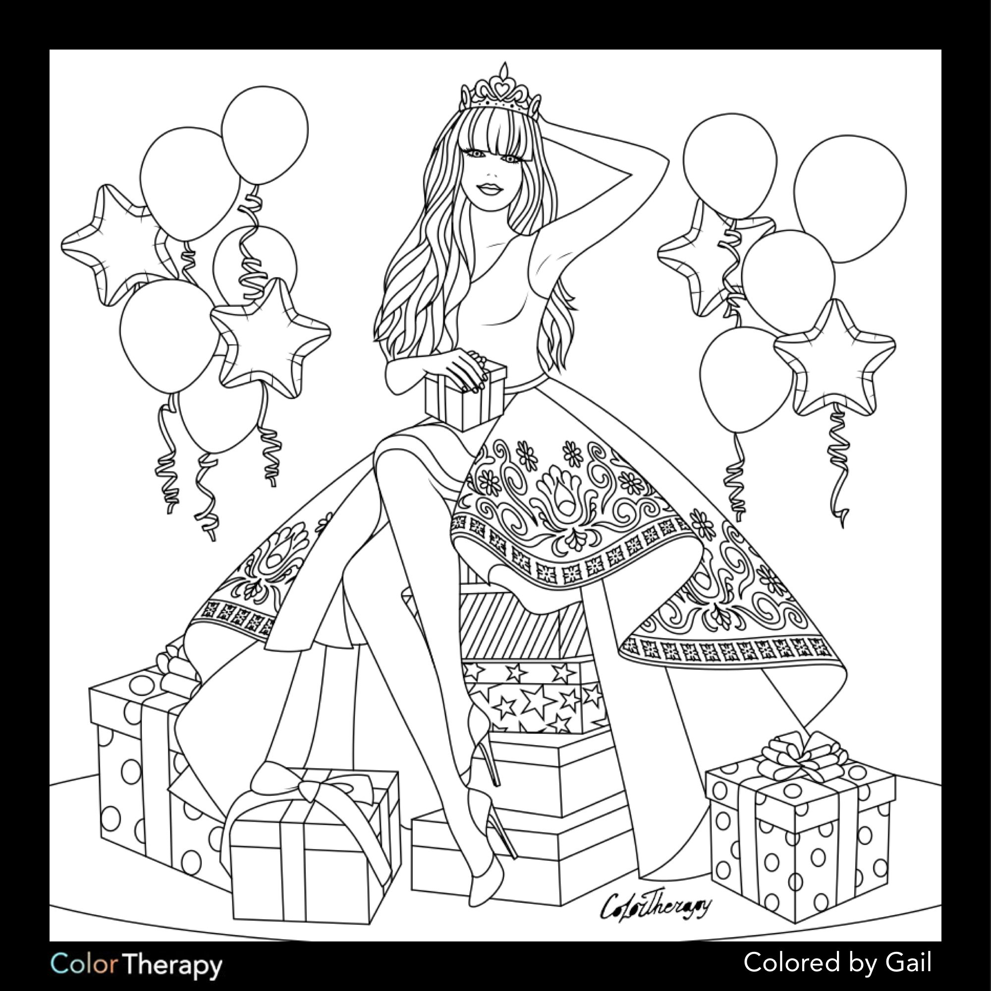 free therapy coloring pages   I colored this myself using Color Therapy App. It was so ...