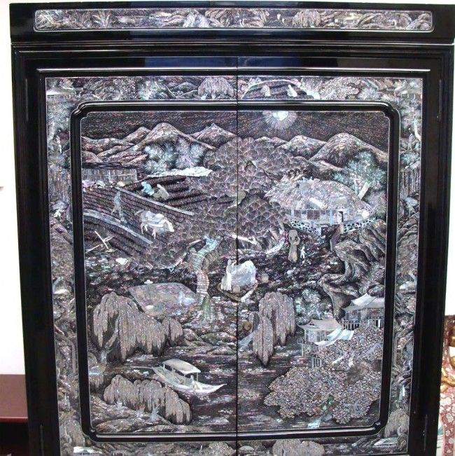 Mother Of Pearl Inlaid High Chest Black Lacquer Korean