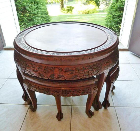 Vintage Asian Hand Carved Round Wooden Tea Table With Four Nesting Stools