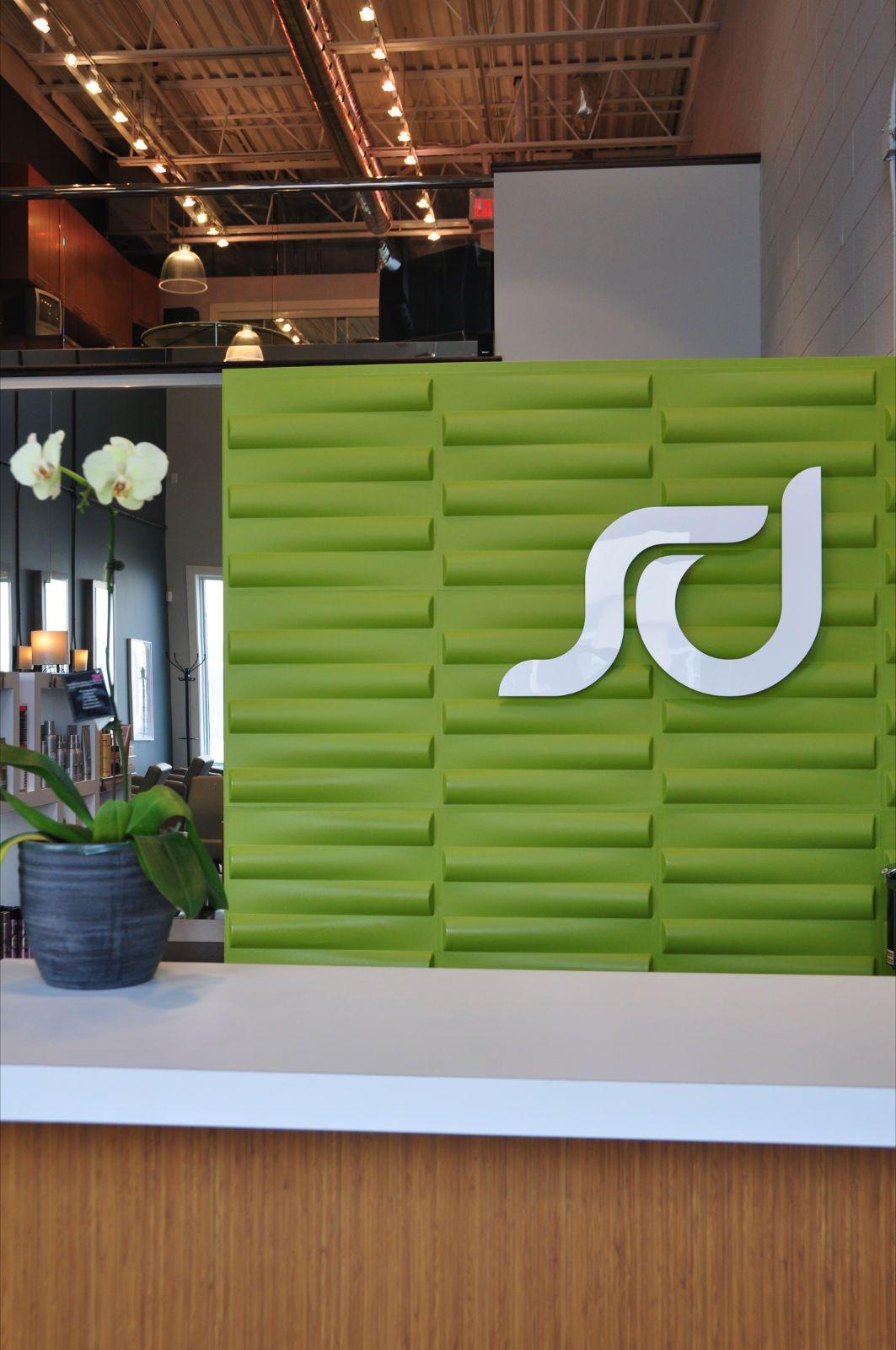 Salon Decorum Newmarket ON recycled bamboo tiles create
