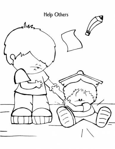 Helping Others Coloring Pages For Kids