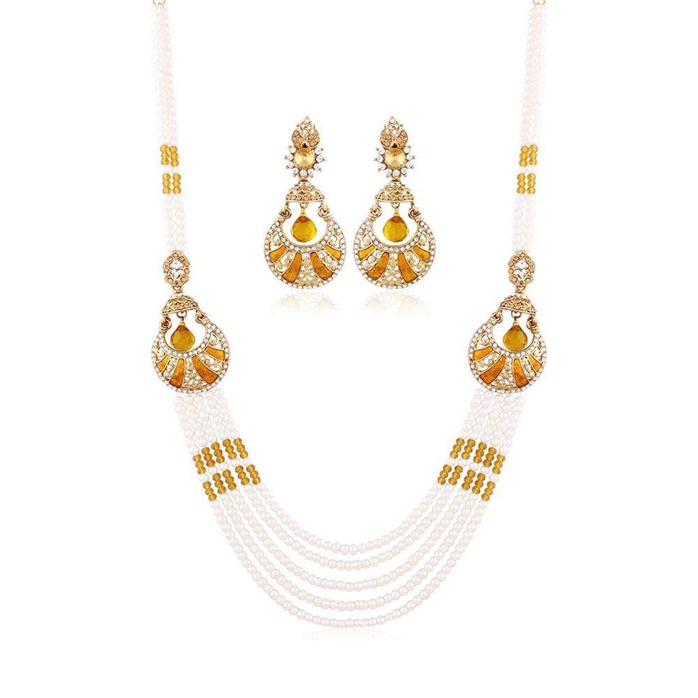 Dazzling orange stone white pearl latest designer party wear strand