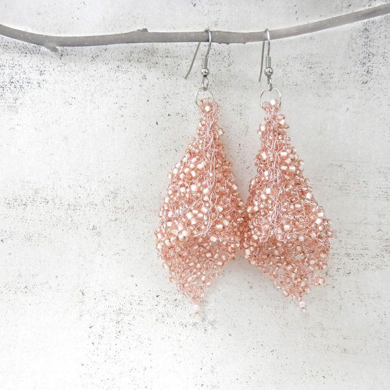 Blush Earrings Pink Earrings Wire Crochet Jewelry by AlbinaRose
