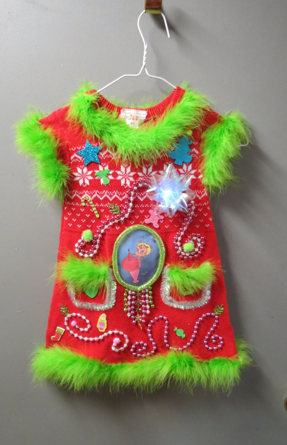 a4e9ecd1a8e Girls Red Tacky Ugly Christmas Sweater Grinch Mini Dress garland beads  Light up bow size 4T Red with Lime Feather FooFoo Trim Darling! by  tackyuglychristmas ...
