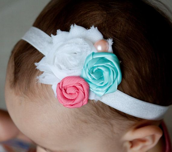 Girly Coral and Aqua Rosette hairbow