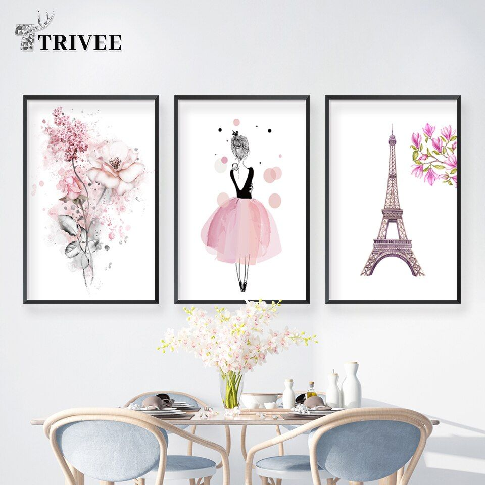 Wall Prints Painting Canvas Decor Lager Size Nordic Poster Blue Pink Yellow Abstract Wall Art Picture For Living Room Home Decor In 2020 Paris Wall Decor Wall Art Canvas Painting Canvas Decor