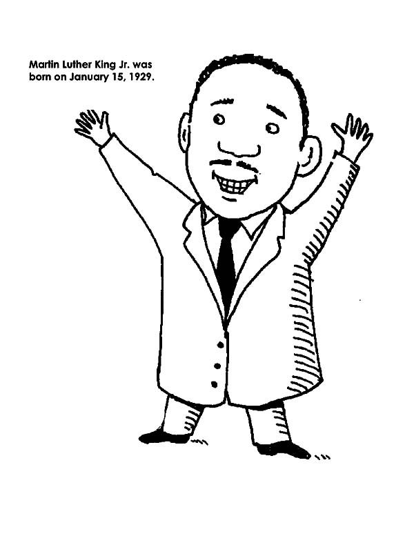 Cartoon Drawing of Martin Luther King Jr Coloring Page | January ...