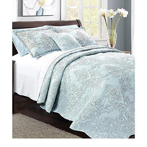 120 X 120 Light Blue Oversized Damask Bedspread King Floor Hangs Over Edge Floral Bedding Drops Side Bed Frame Drape Bed Spreads Bedspread Set Coverlet Bedding