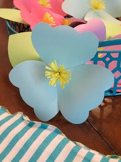 Homemade Luau Party Paper Flowers