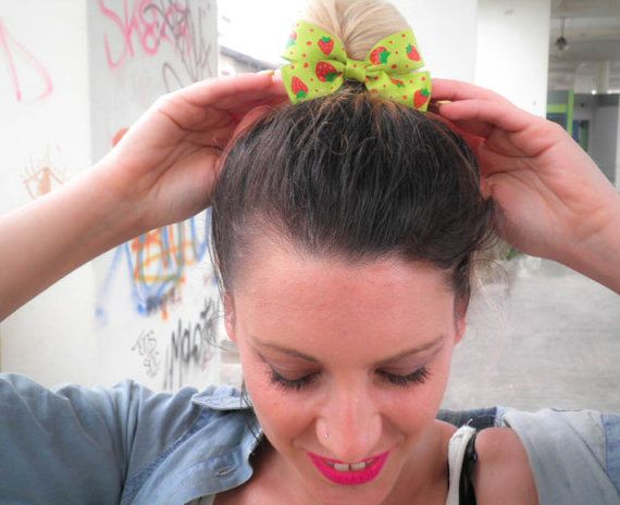 Sweet strawberry hair bow Girly style. Handmade by jtfashionsoul