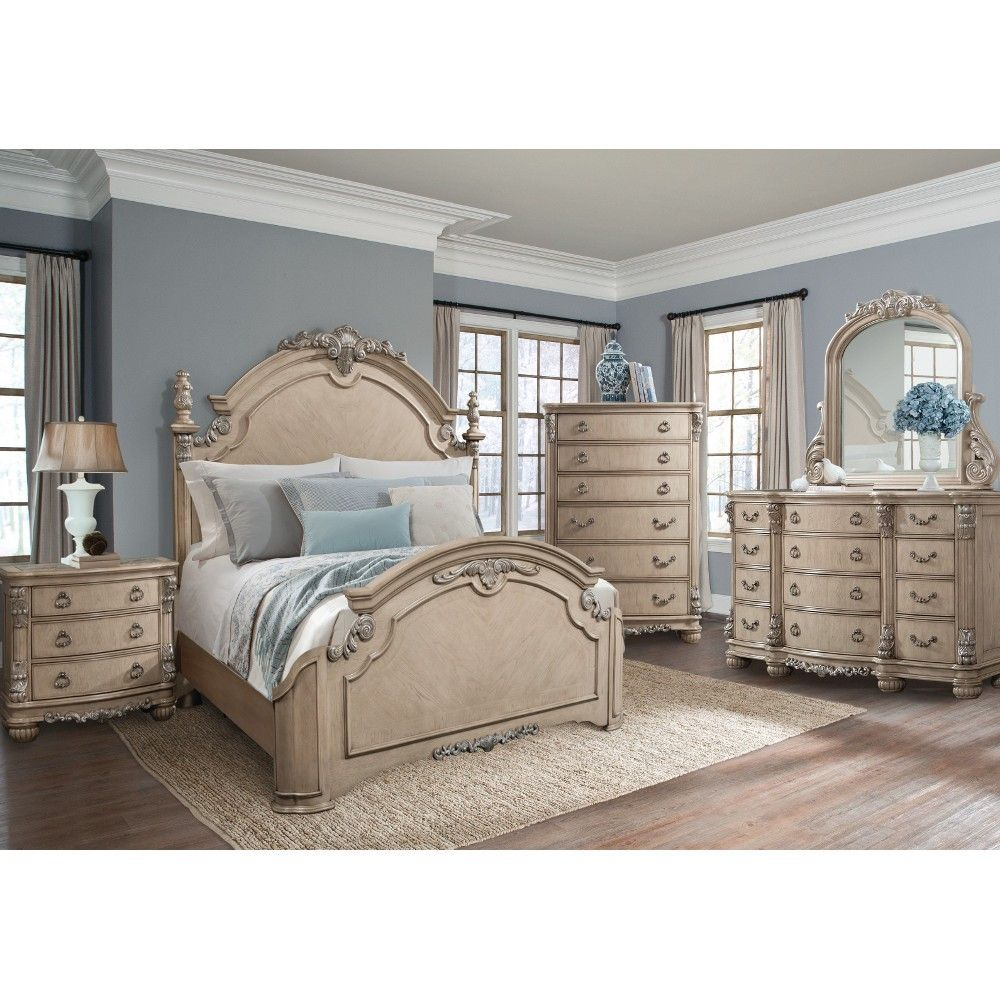 South Hampton Bedroom Bed Dresser Mirror King White 895154