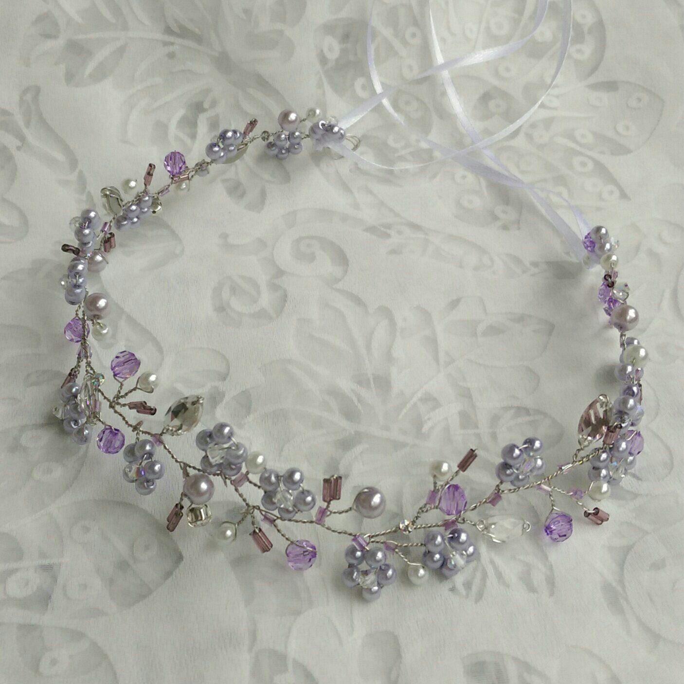 Bridal hair vine, breidl wreath, bridal halo, hair accessoire, lavender by RoyalAccessoriesAE on Etsy