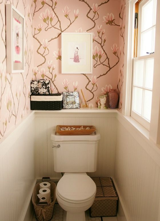 Toilet room decor on pinterest water closet decor small toilet room and toilet room - Toilet design small space property ...