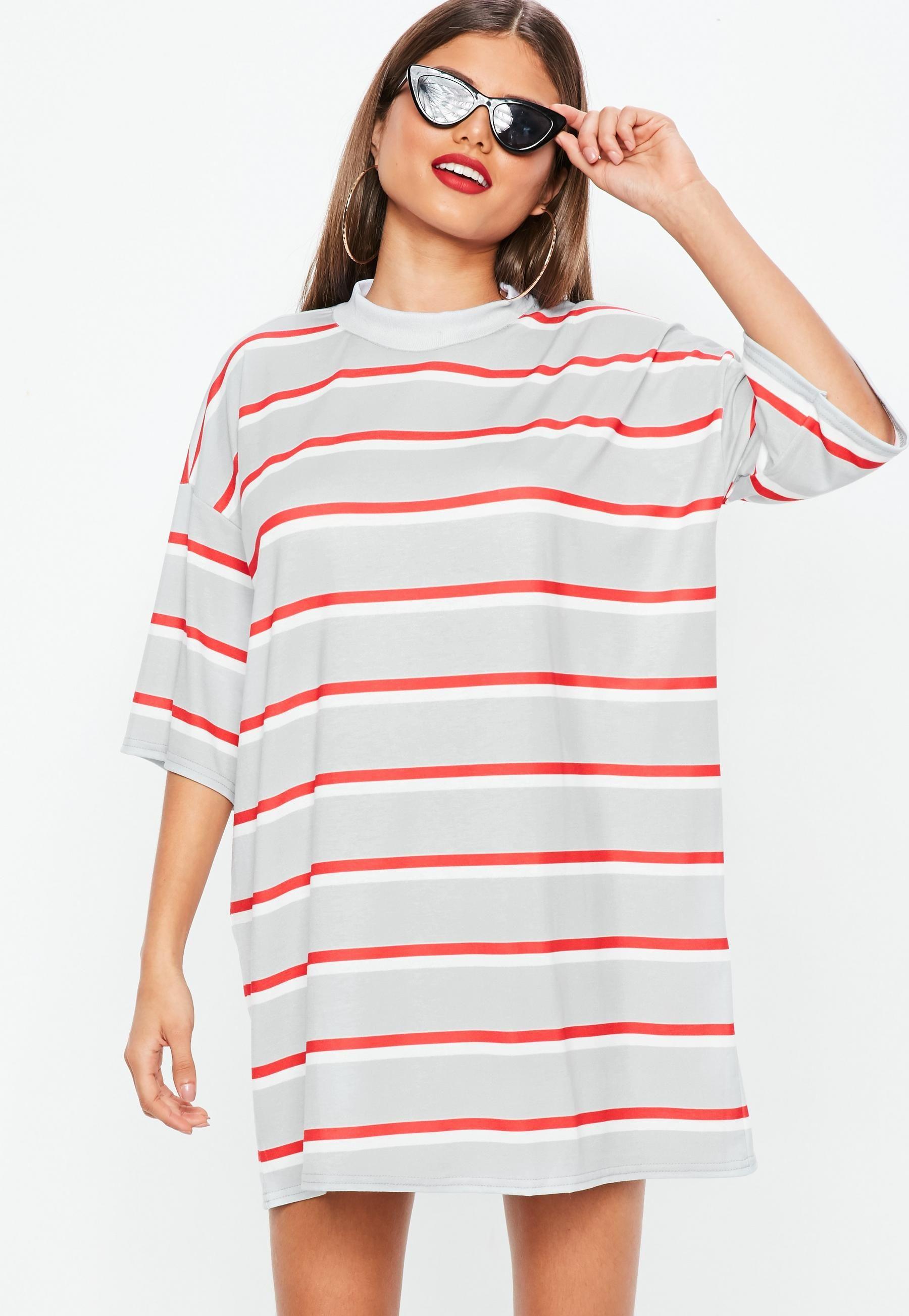 18570dbe Grey Stripe Oversized T-Shirt Dress | | STRIPED TEES | Oversized t ...