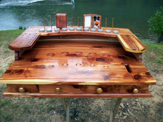 fly tying bench desk handmade rustic cedar custom order meuble de montage pinterest. Black Bedroom Furniture Sets. Home Design Ideas
