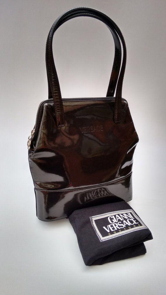 Leather Shoulder Bags · VERSACE Gianni Versace Vintage Black Patent by  Sophiashop123 Versace Bag b5665ddb9f645